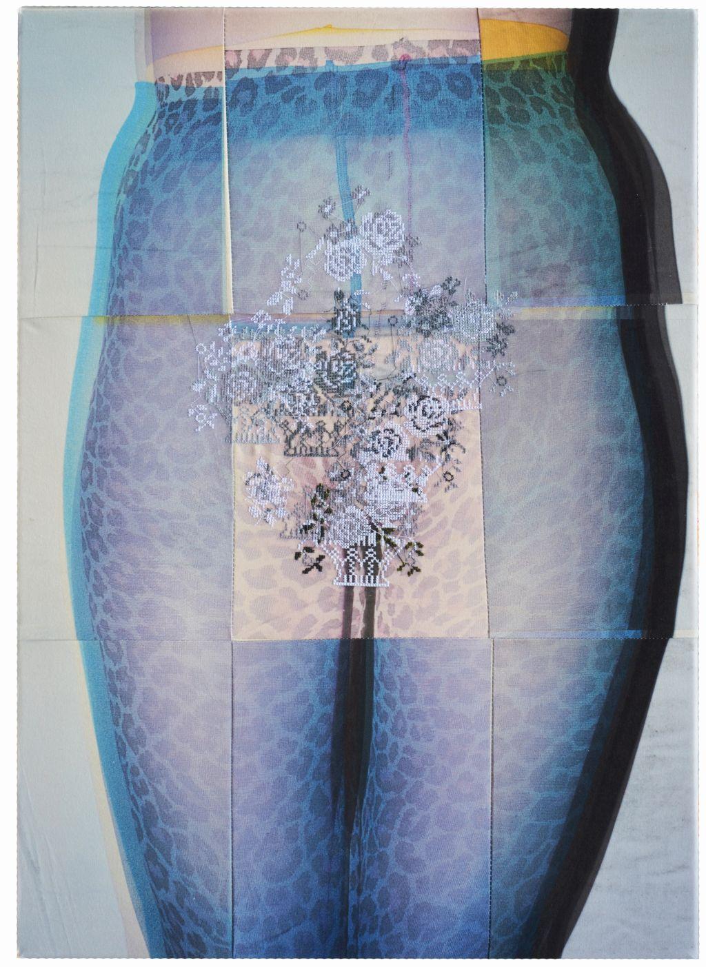 AfterBefore, druk na bawełnie, haft, 50 x 70 cm, 2015