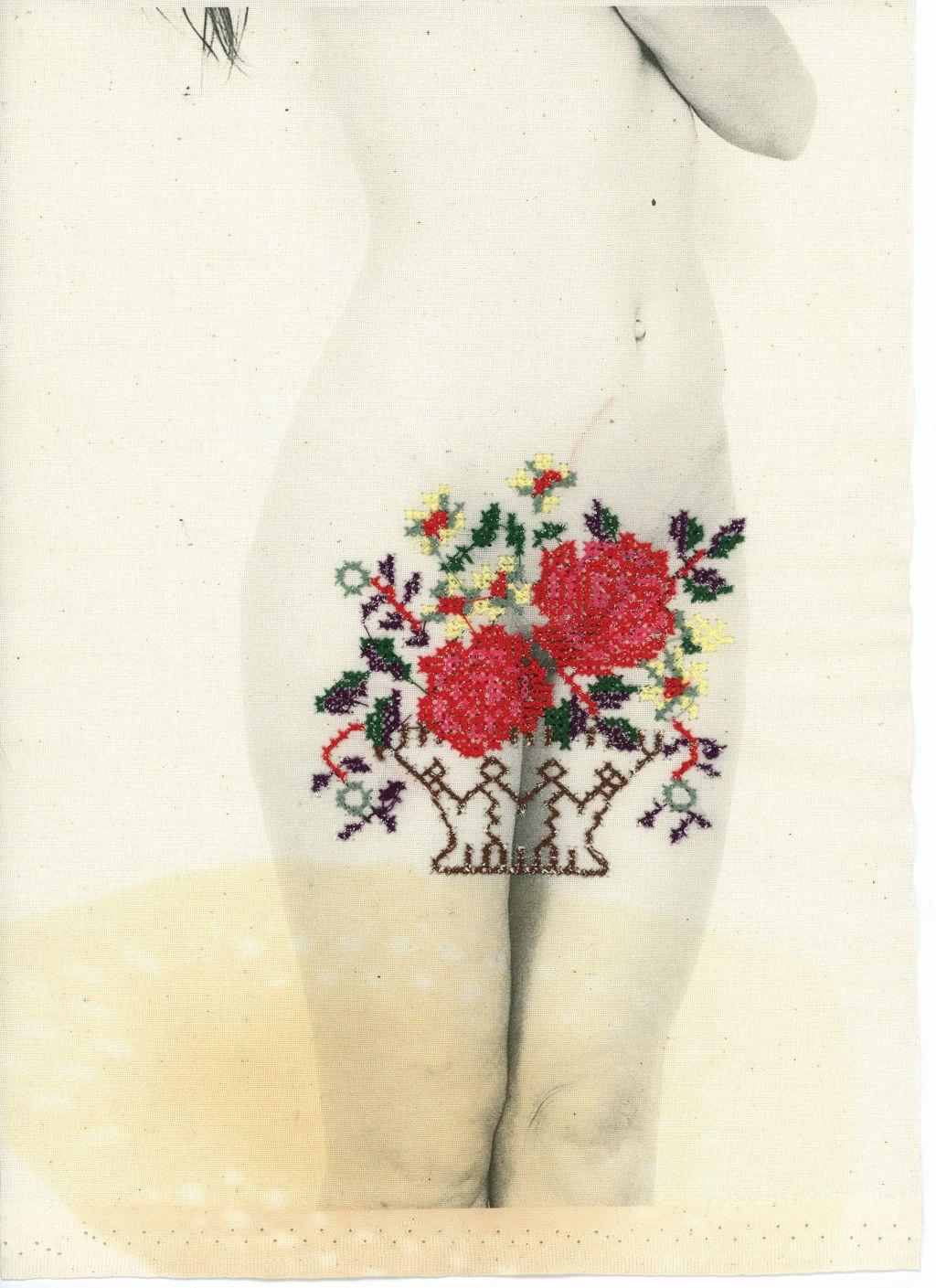 Łono natury, avers, druk na płótnie, haft. 29 x 21 cm, 2014/16