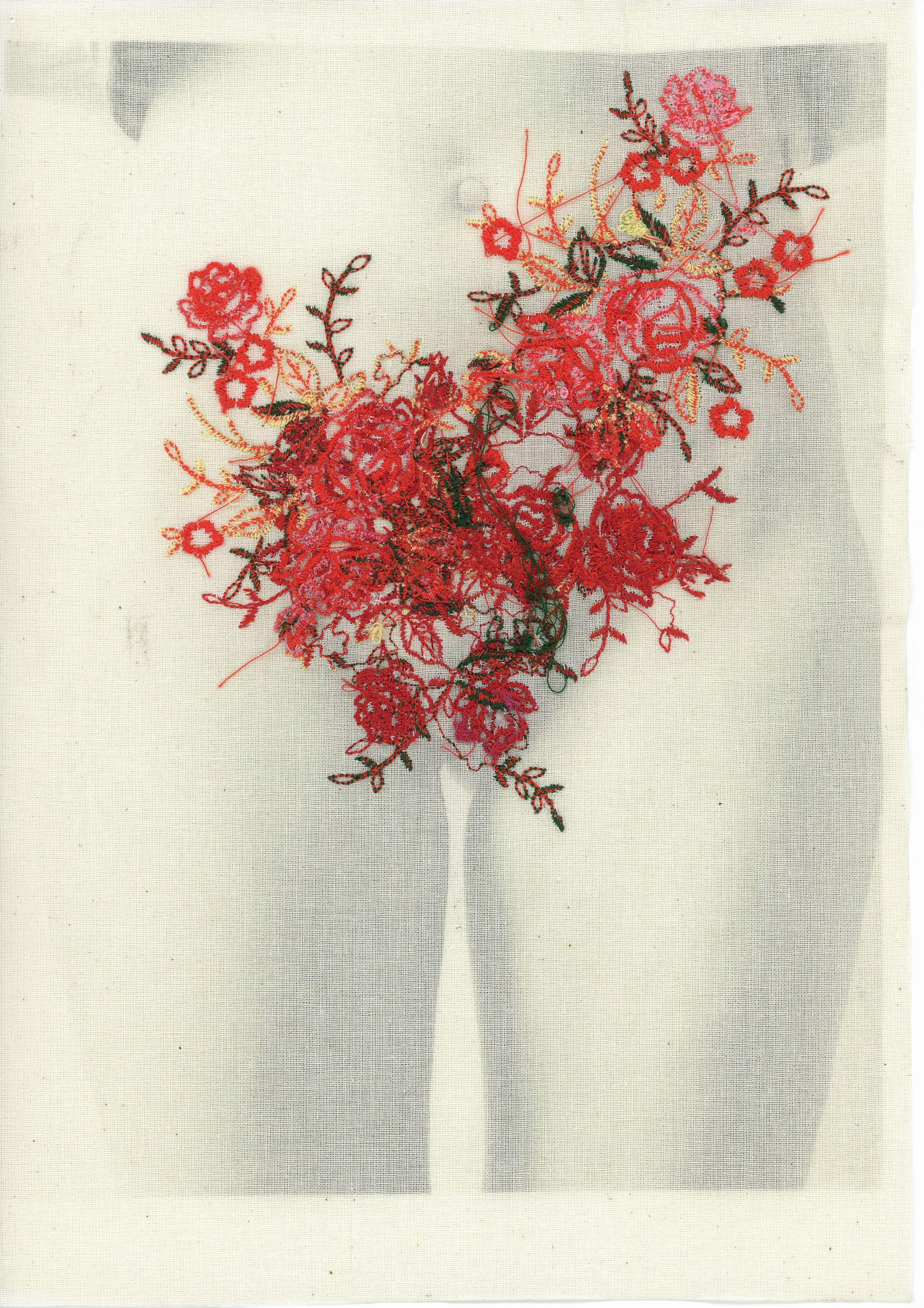 Łono natury, revers, druk na płótnie, haft. 29 x 21 cm, 2014/16