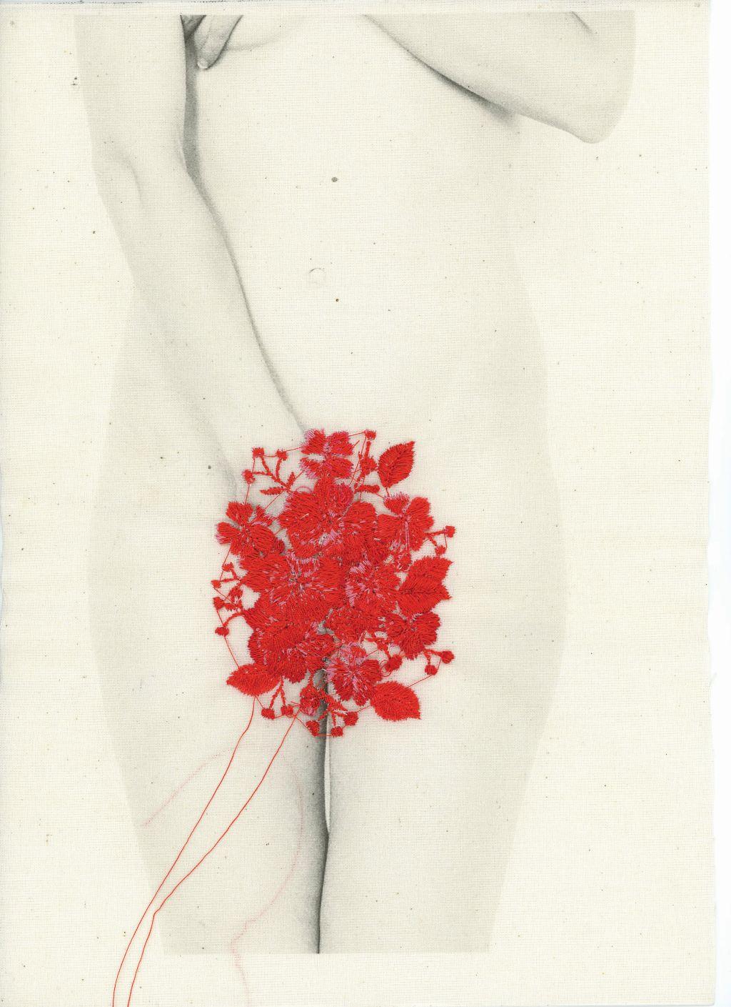 Łono natury, druk na płótnie, haft. 29 x 21 cm, 2014/16